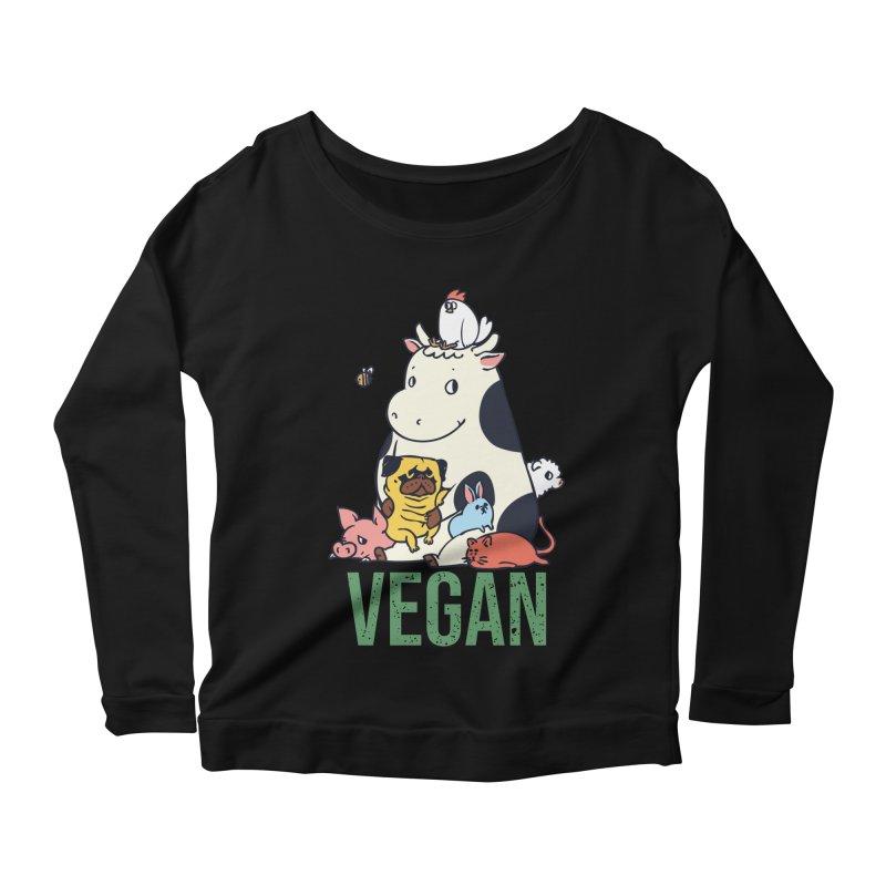 Pug and Friends Vegan Women's Scoop Neck Longsleeve T-Shirt by huebucket's Artist Shop