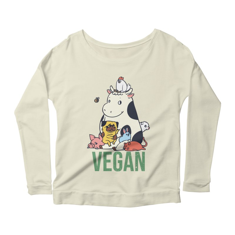 Pug and Friends Vegan Women's Scoop Neck Longsleeve T-Shirt by huebucket's Artist Shop