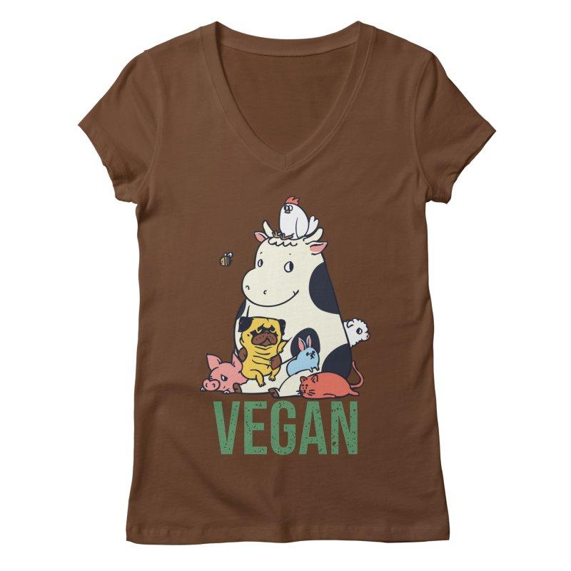 Pug and Friends Vegan Women's Regular V-Neck by huebucket's Artist Shop