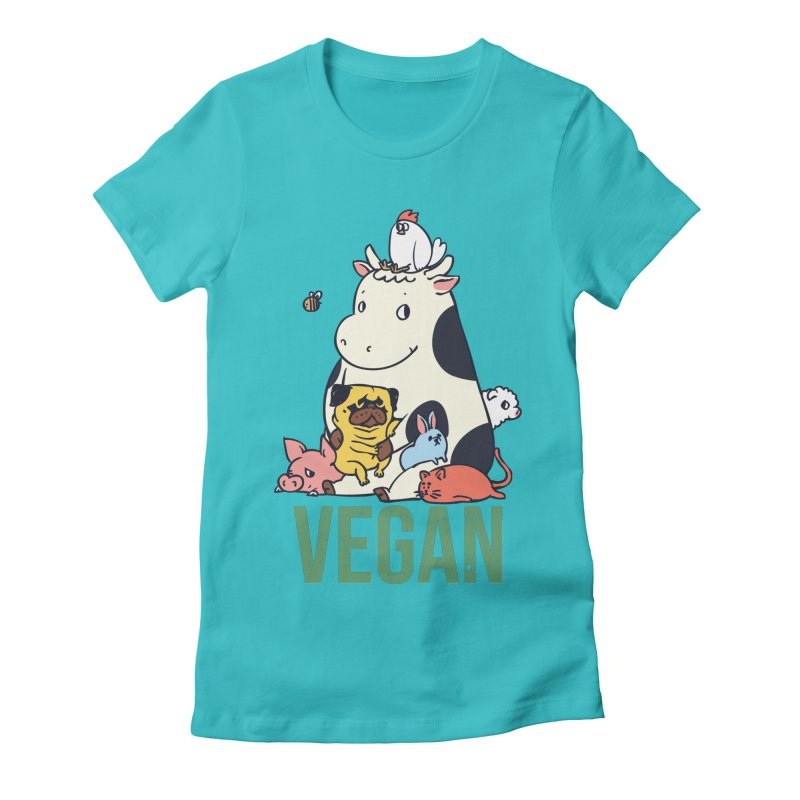Pug and Friends Vegan Women's Fitted T-Shirt by huebucket's Artist Shop