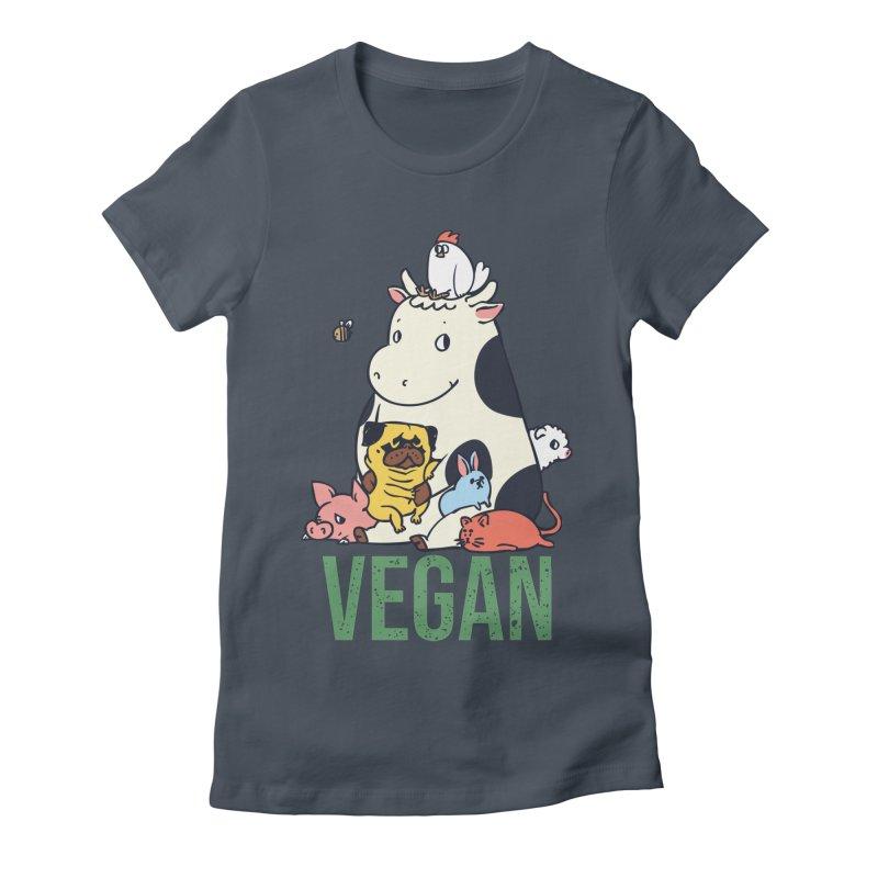 Pug and Friends Vegan Women's T-Shirt by huebucket's Artist Shop