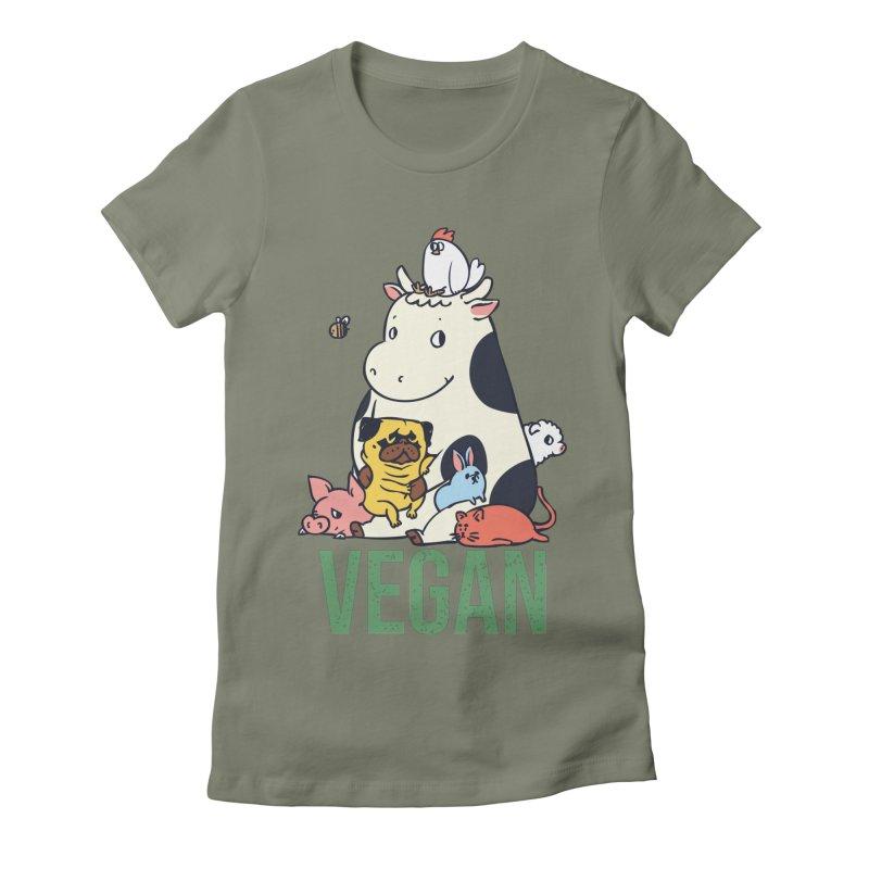 Pug and Friends Vegan Women's Fitted T-Shirt by huebucket's Artist Shop