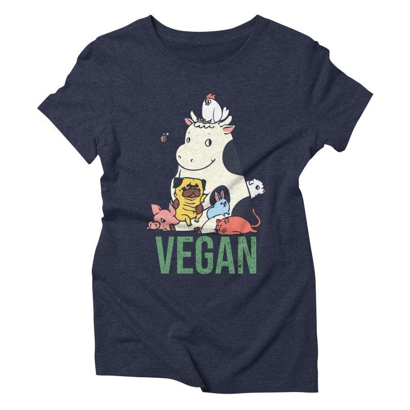 Pug and Friends Vegan Women's Triblend T-Shirt by huebucket's Artist Shop