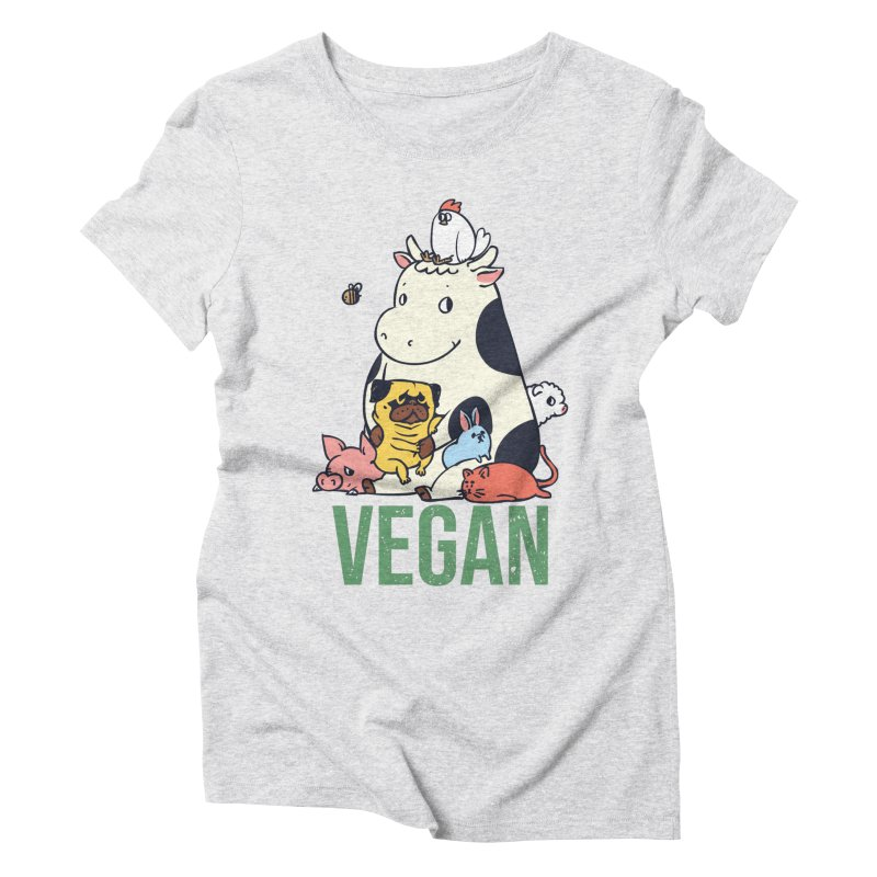 Pug and Friends Vegan Women's Triblend T-Shirt by huebucket's Artist Shop