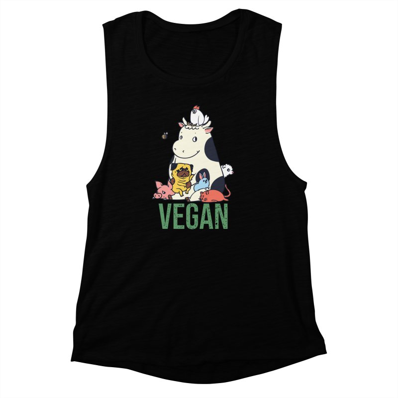 Pug and Friends Vegan Women's Muscle Tank by huebucket's Artist Shop