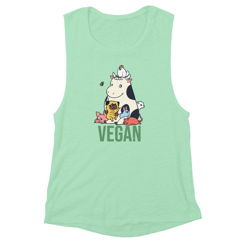 Pug and Friends Vegan Women's Muscle Tank by huebucket's Artist Shop