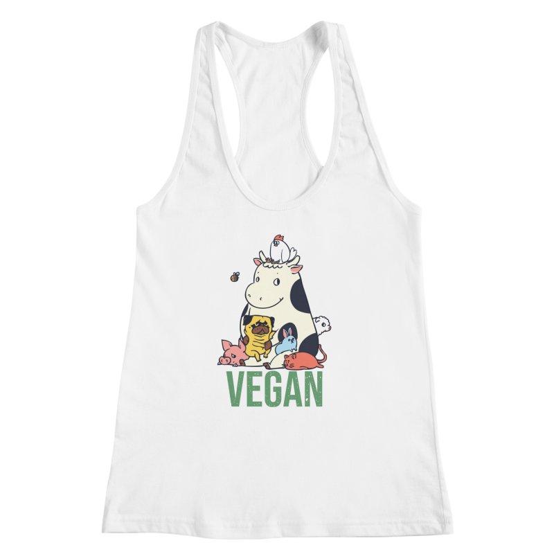 Pug and Friends Vegan Women's Racerback Tank by huebucket's Artist Shop