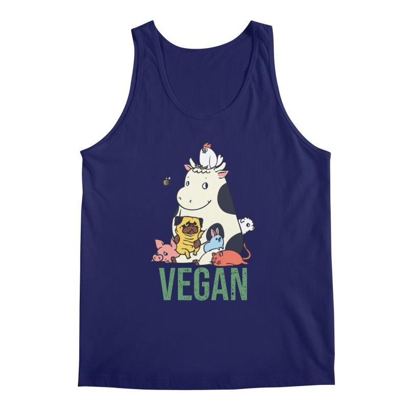 Pug and Friends Vegan Men's Regular Tank by huebucket's Artist Shop