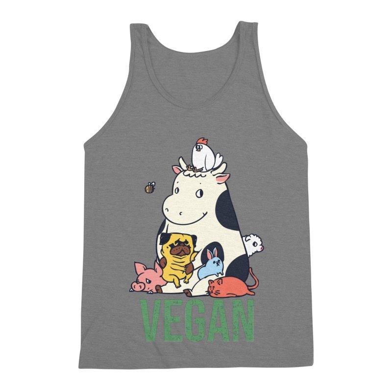 Pug and Friends Vegan Men's Triblend Tank by huebucket's Artist Shop