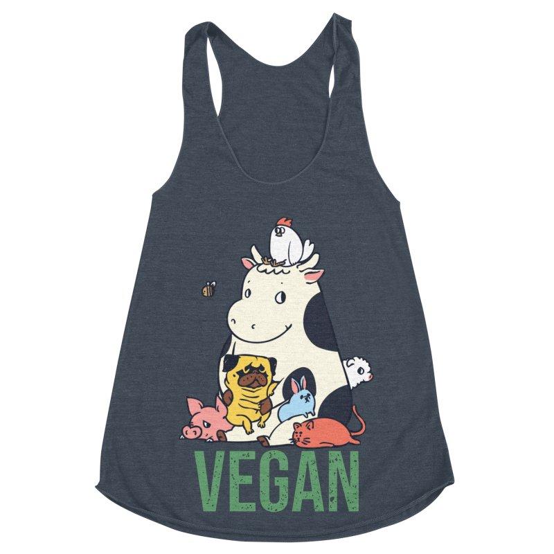 Pug and Friends Vegan Women's Racerback Triblend Tank by huebucket's Artist Shop