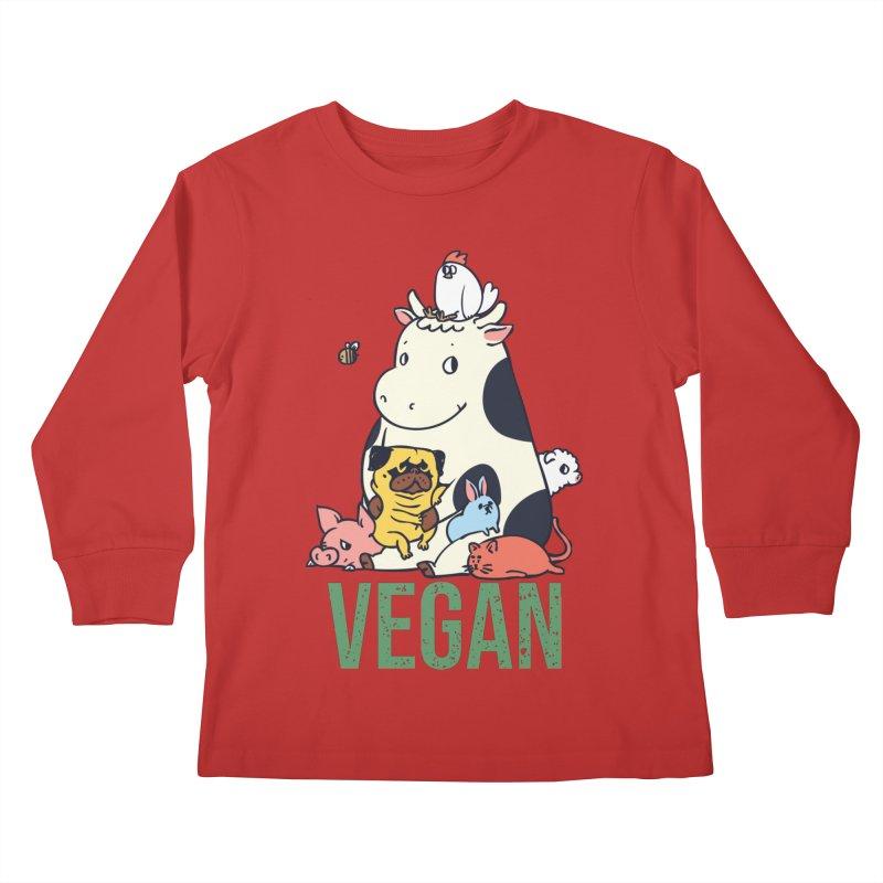 Pug and Friends Vegan Kids Longsleeve T-Shirt by huebucket's Artist Shop