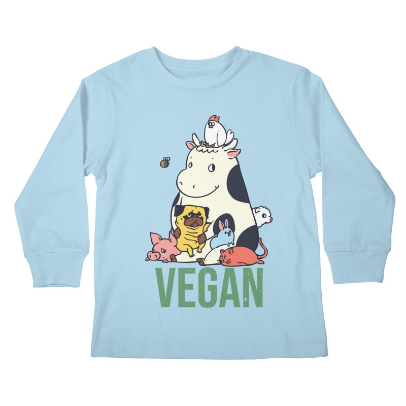Pug and Friends Vegan Kids Longsleeve T-Shirt by huebucket's Artist Shop