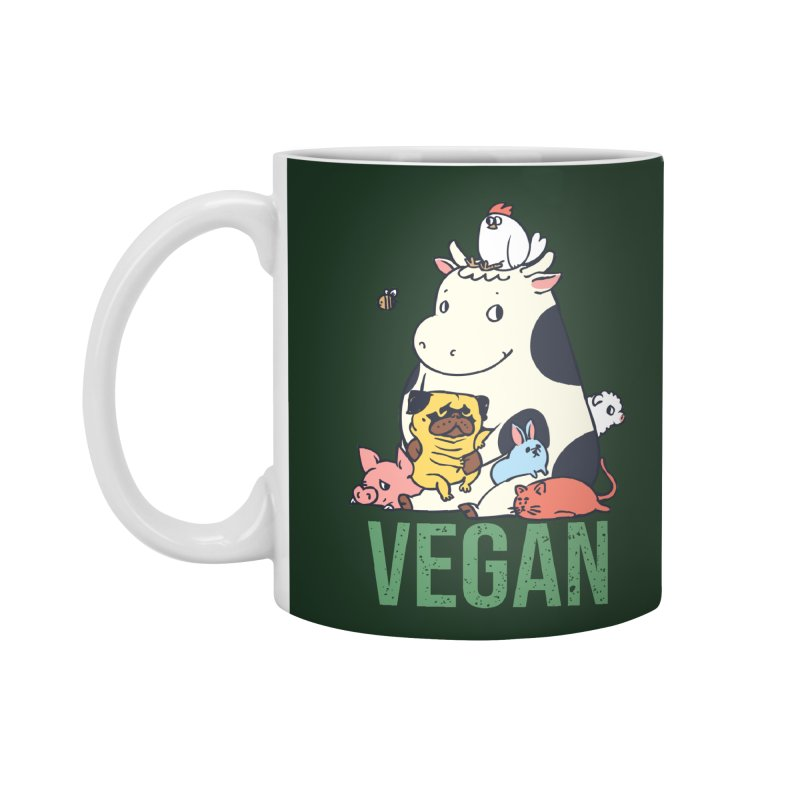 Pug and Friends Vegan Accessories Mug by huebucket's Artist Shop