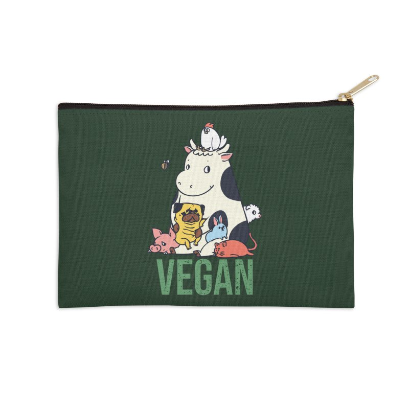 Pug and Friends Vegan Accessories Zip Pouch by huebucket's Artist Shop