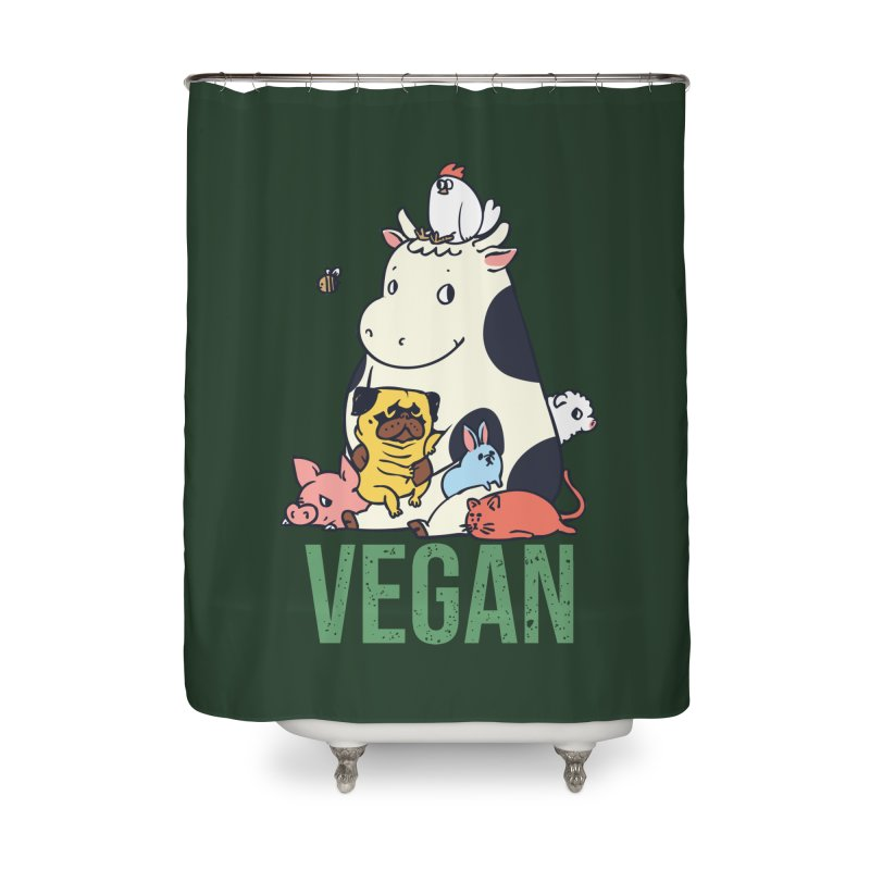 Pug and Friends Vegan Home Shower Curtain by huebucket's Artist Shop