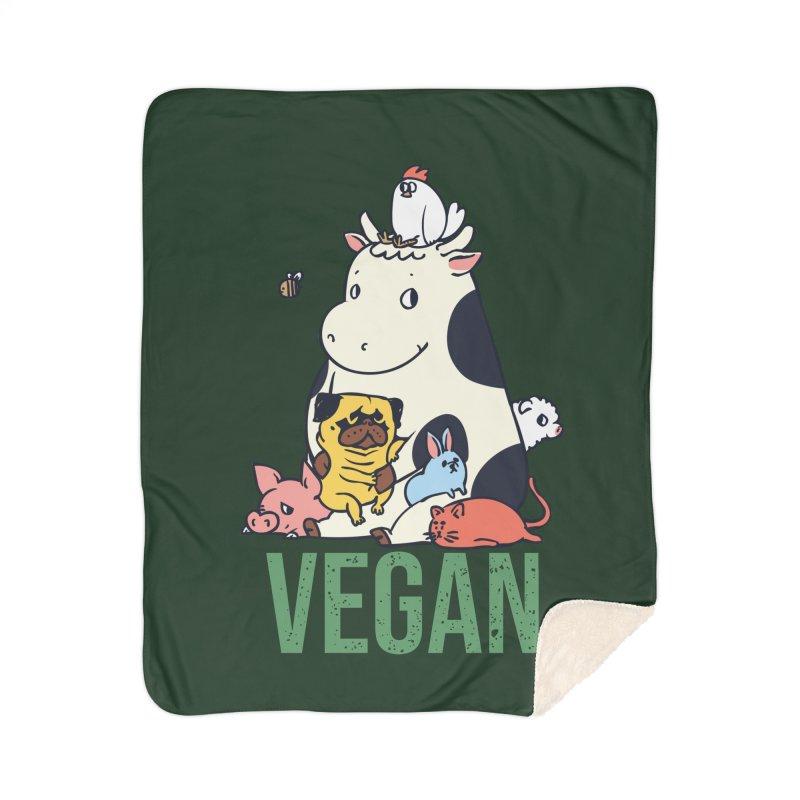 Pug and Friends Vegan Home Sherpa Blanket Blanket by huebucket's Artist Shop