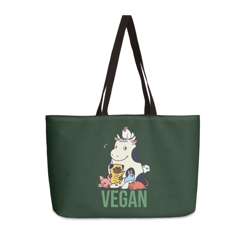 Pug and Friends Vegan Accessories Weekender Bag Bag by huebucket's Artist Shop