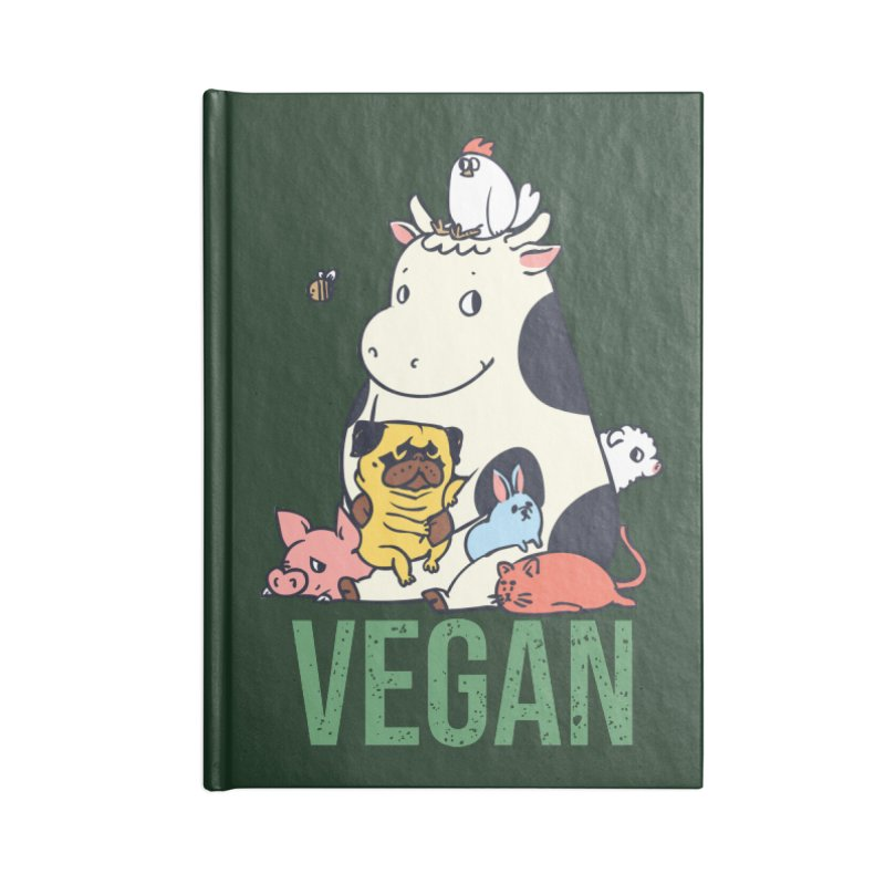 Pug and Friends Vegan Accessories Lined Journal Notebook by huebucket's Artist Shop