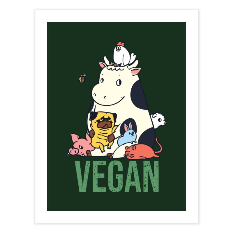 Pug and Friends Vegan Home Fine Art Print by huebucket's Artist Shop