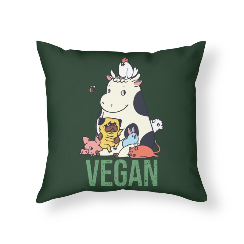 Pug and Friends Vegan Home Throw Pillow by huebucket's Artist Shop