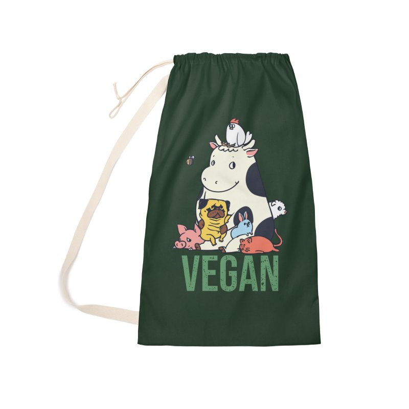 Pug and Friends Vegan Accessories Laundry Bag Bag by huebucket's Artist Shop