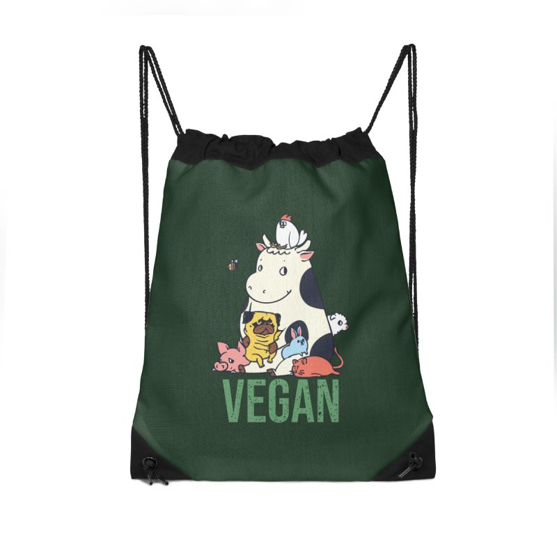 Pug and Friends Vegan Accessories Drawstring Bag Bag by huebucket's Artist Shop
