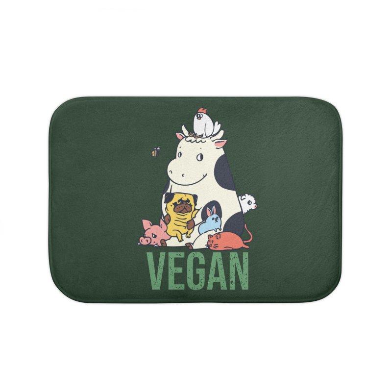 Pug and Friends Vegan Home Bath Mat by huebucket's Artist Shop