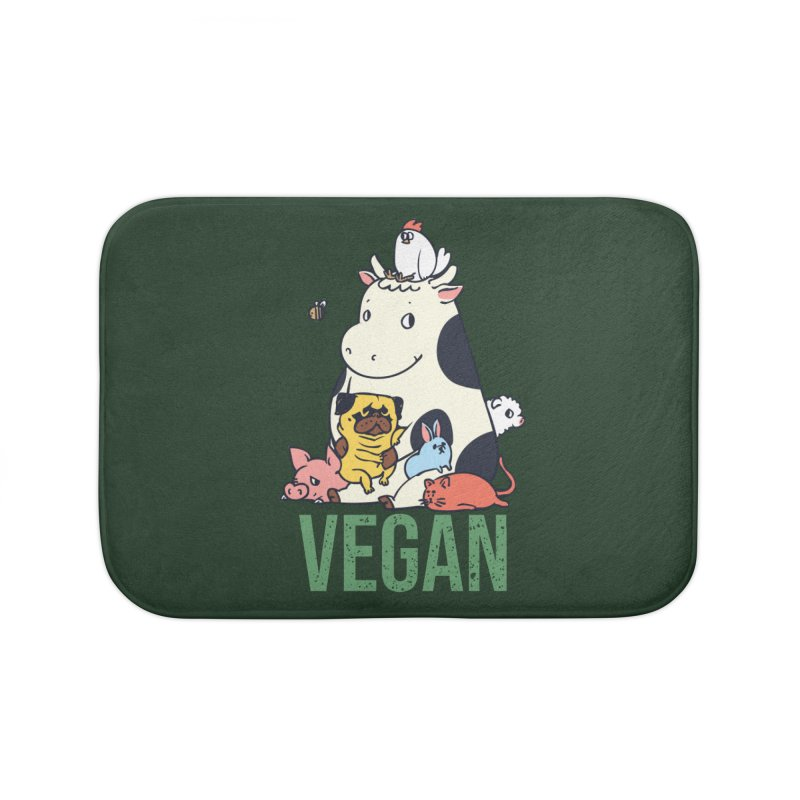 Pug and Friends Vegan Home Bath Mat by huebucket's Artist Shop