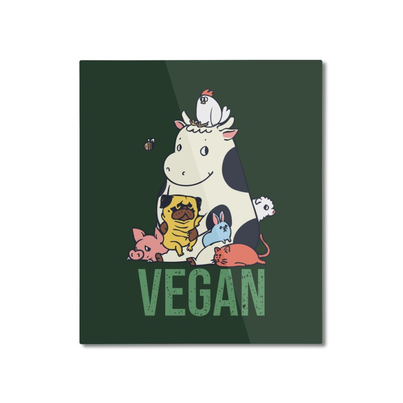 Pug and Friends Vegan Home Mounted Aluminum Print by huebucket's Artist Shop
