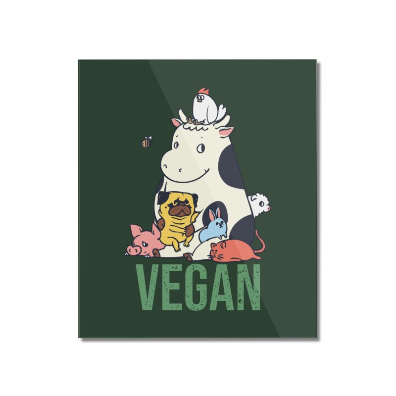 Pug and Friends Vegan Home Mounted Acrylic Print by huebucket's Artist Shop