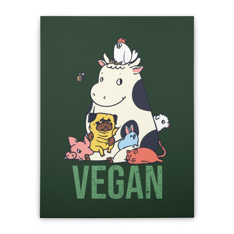 Pug and Friends Vegan Home Stretched Canvas by huebucket's Artist Shop