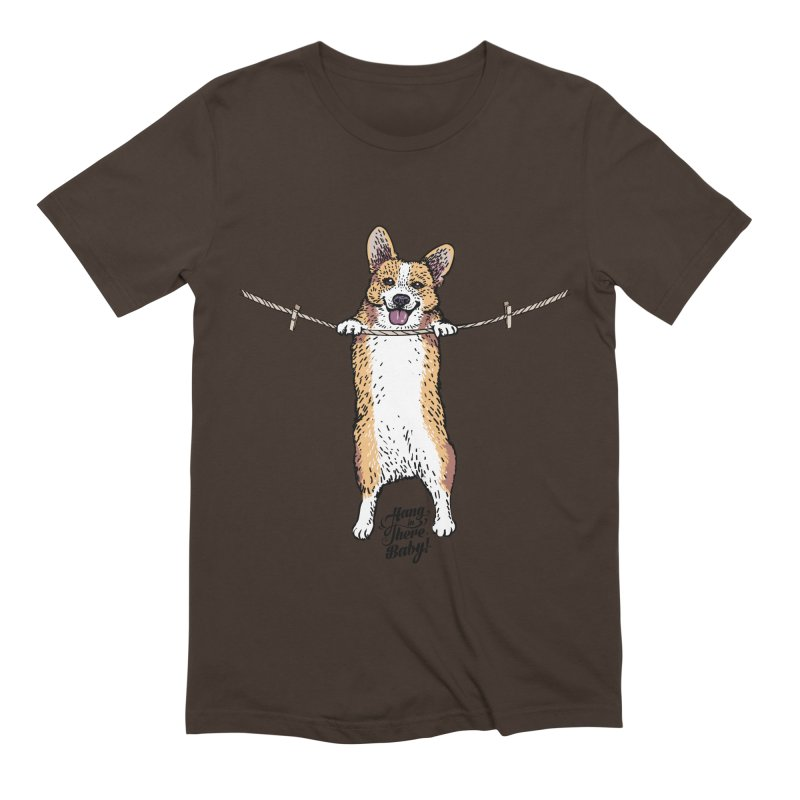 Hang In There Baby Corgi Men's Extra Soft T-Shirt by huebucket's Artist Shop