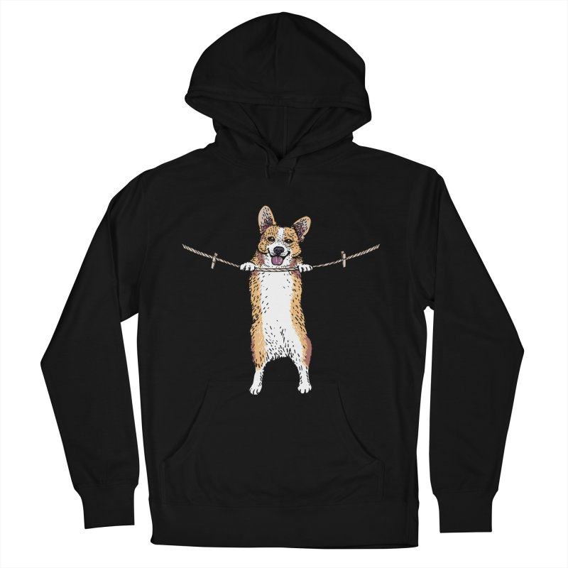 Hang In There Baby Corgi Men's French Terry Pullover Hoody by huebucket's Artist Shop
