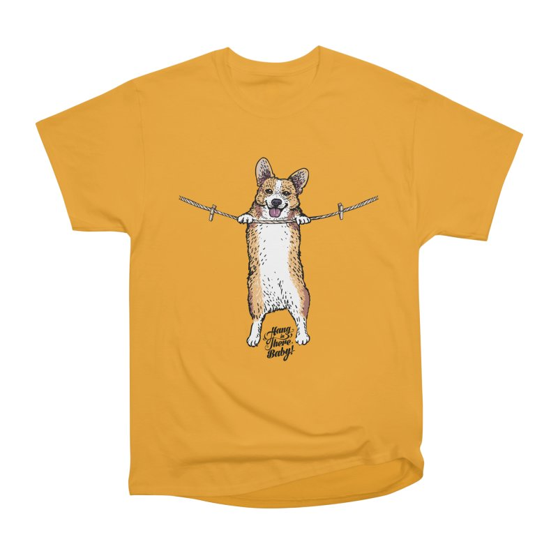 Hang In There Baby Corgi Men's Heavyweight T-Shirt by huebucket's Artist Shop
