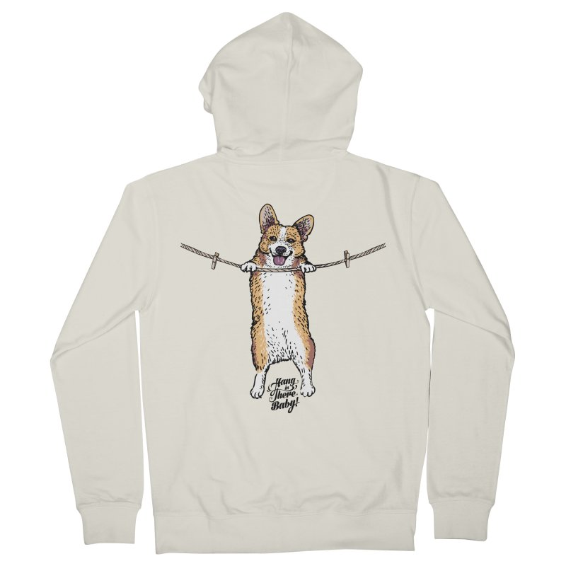 Hang In There Baby Corgi Women's French Terry Zip-Up Hoody by huebucket's Artist Shop