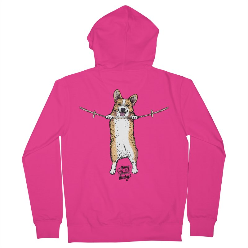Hang In There Baby Corgi Men's French Terry Zip-Up Hoody by huebucket's Artist Shop