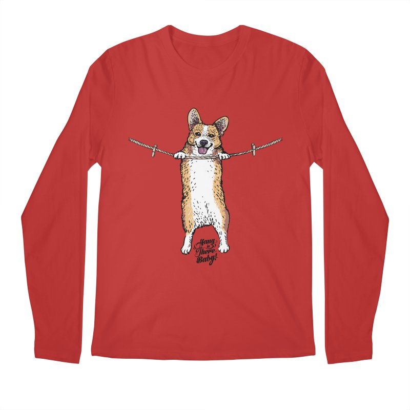 Hang In There Baby Corgi Men's Regular Longsleeve T-Shirt by huebucket's Artist Shop