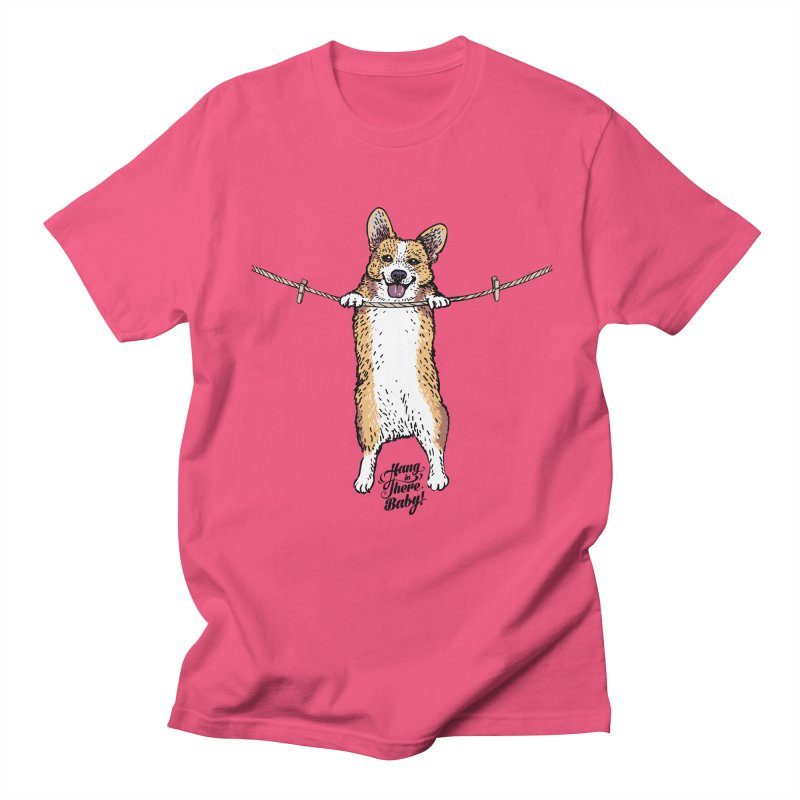 Hang In There Baby Corgi Men's T-Shirt by huebucket's Artist Shop