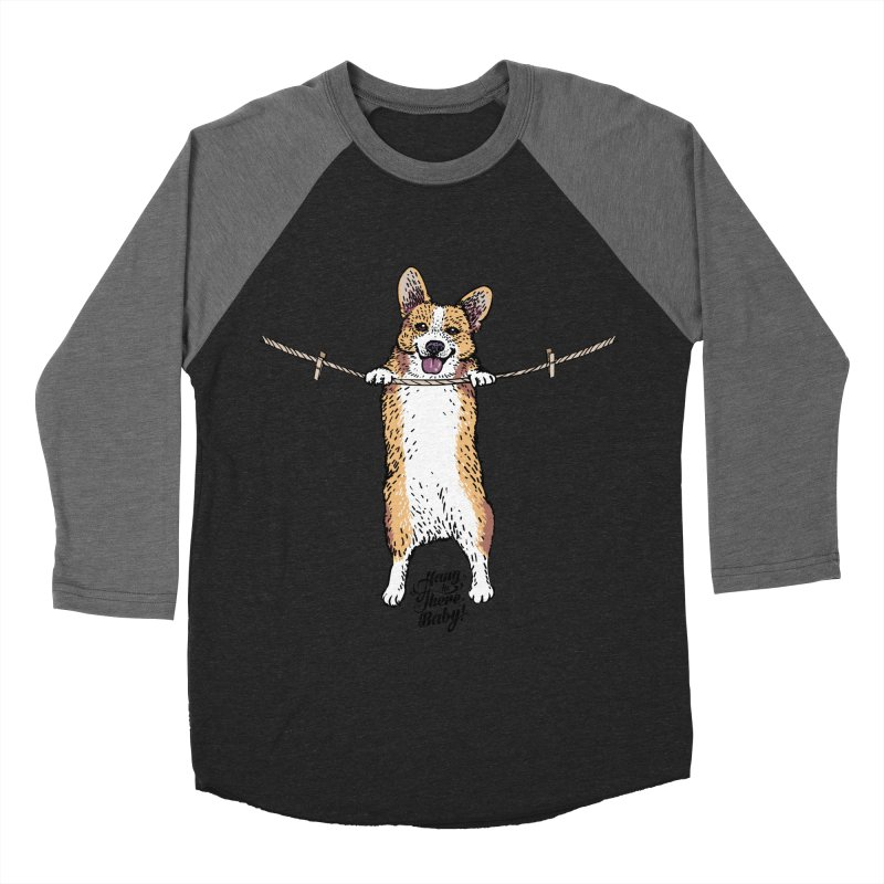Hang In There Baby Corgi Women's Baseball Triblend Longsleeve T-Shirt by huebucket's Artist Shop