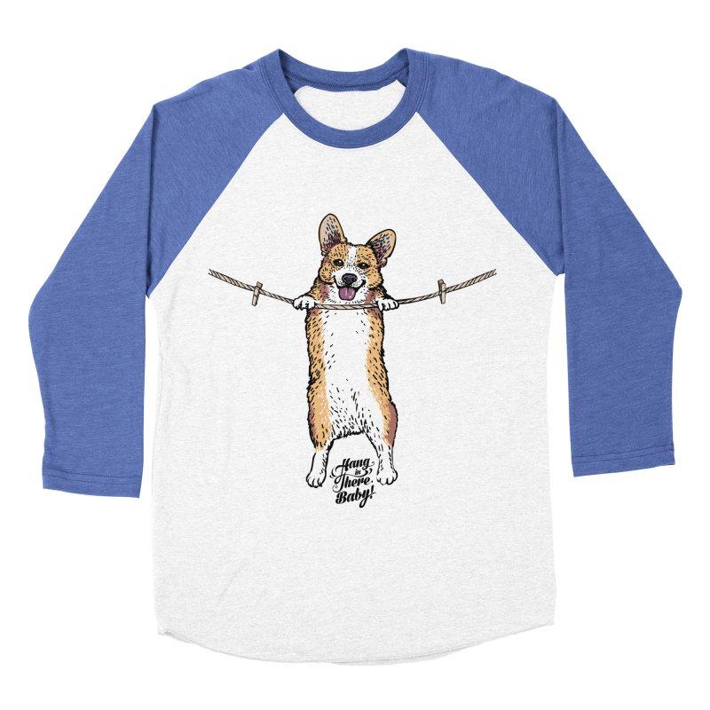 Hang In There Baby Corgi Men's Baseball Triblend Longsleeve T-Shirt by huebucket's Artist Shop