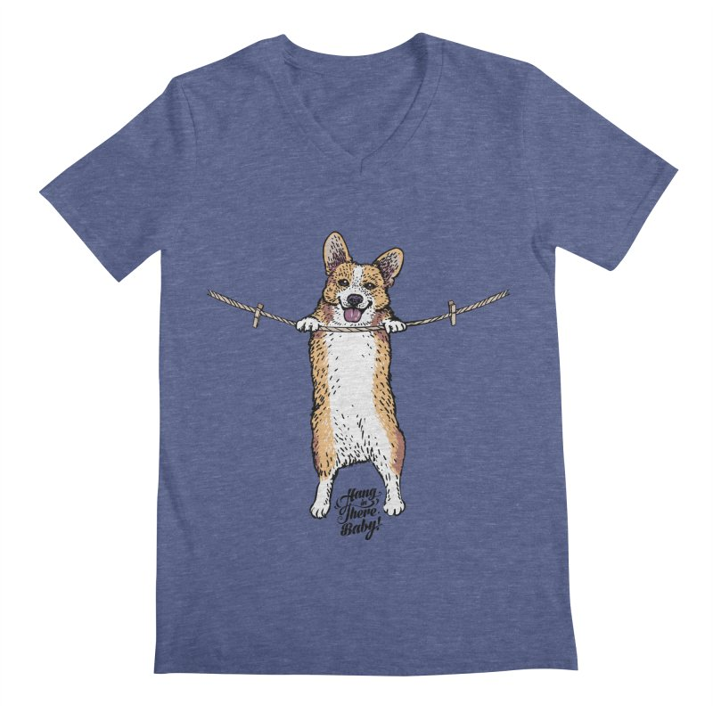 Hang In There Baby Corgi Men's Regular V-Neck by huebucket's Artist Shop