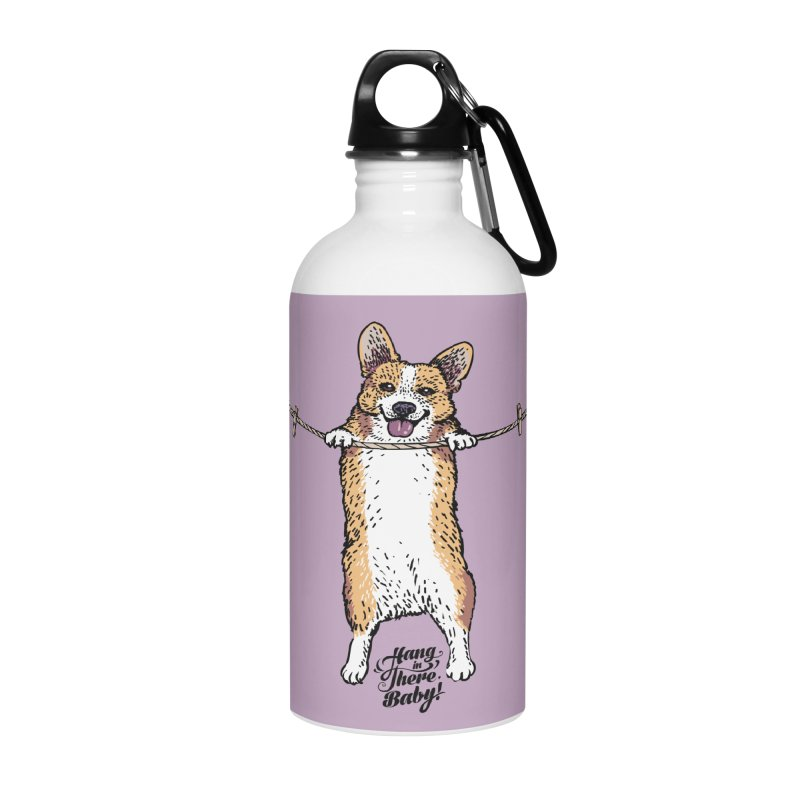 Hang In There Baby Corgi Accessories Water Bottle by huebucket's Artist Shop