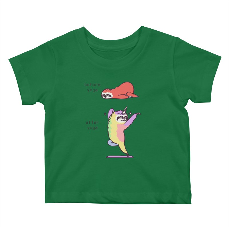 Sloth After Yoga Kids Baby T-Shirt by huebucket's Artist Shop