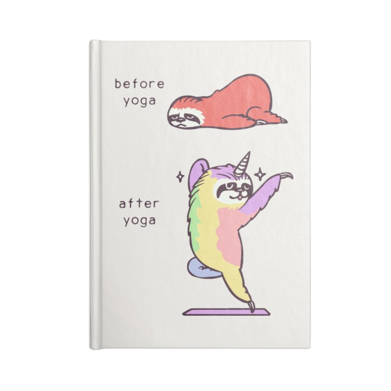 Sloth After Yoga Accessories Blank Journal Notebook by huebucket's Artist Shop
