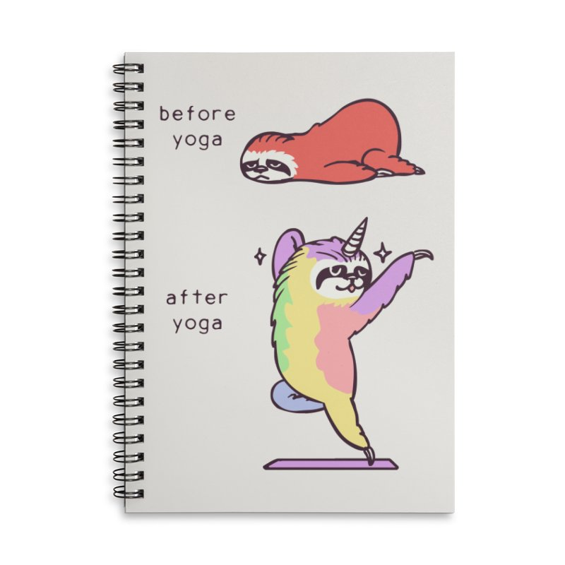 Sloth After Yoga Accessories Lined Spiral Notebook by huebucket's Artist Shop