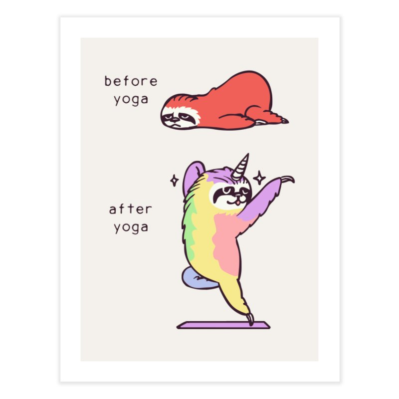 Sloth After Yoga Home Fine Art Print by huebucket's Artist Shop