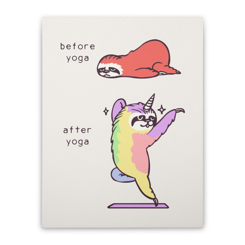 Sloth After Yoga Home Stretched Canvas by huebucket's Artist Shop