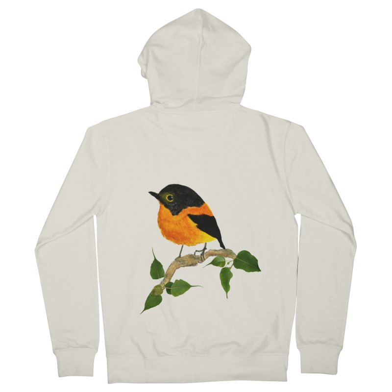 Orange FlyCatcher Men's French Terry Zip-Up Hoody by Hue Hub