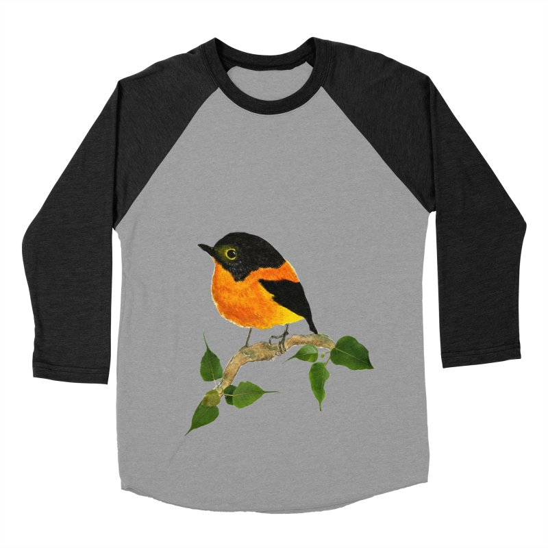 Orange FlyCatcher Men's Baseball Triblend Longsleeve T-Shirt by Hue Hub