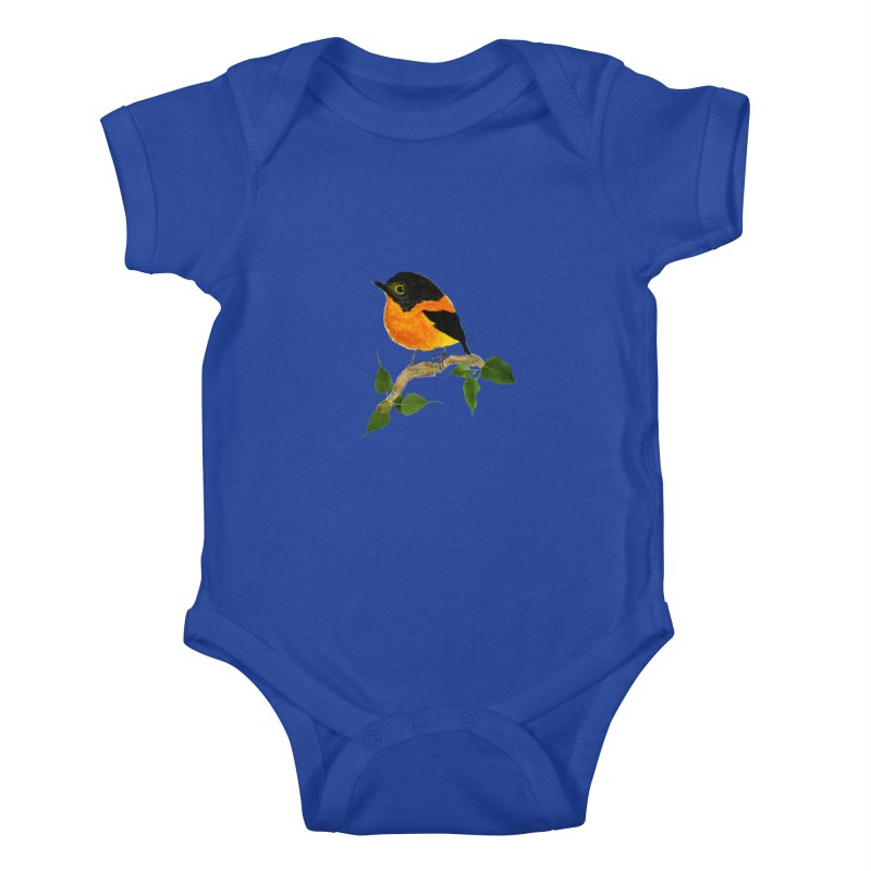 Orange FlyCatcher Kids Baby Bodysuit by Hue Hub